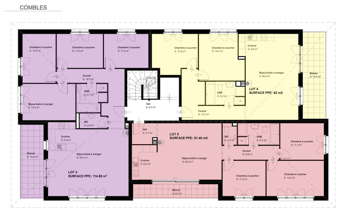 immeuble 4 appartements plan